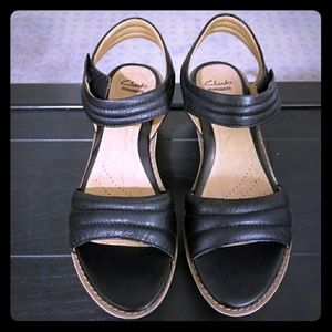 Clarks Wedges Orthopedic Heels Leather Suede Wedge